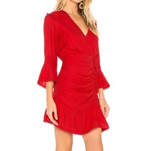 Tularosa Red Joannie Faux Wrap Mini Dress Revolve